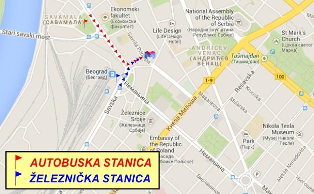mapa autobuske stanice beograd Lokacija hostela u Beogradu | Hostel M mapa autobuske stanice beograd